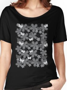 Spring Butterflies | Black and White Women's Relaxed Fit T-Shirt