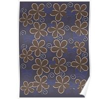 Spring Butterflies | Blue and Brown Poster
