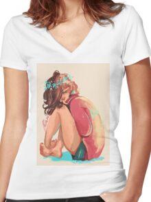 Little Petal Women's Fitted V-Neck T-Shirt