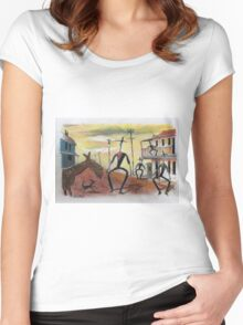 Too long in the saddle. Cowboy cartoon by Al Benge Women's Fitted Scoop T-Shirt