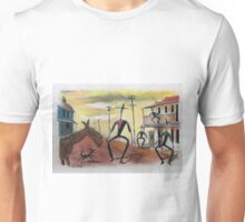 Too long in the saddle. Cowboy cartoon by Al Benge Unisex T-Shirt