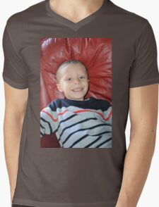 Boy in a Red Chair Mens V-Neck T-Shirt