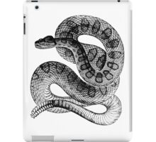 Vintage Rattlesnake Illustration Retro 1800s Black and White Poisonous Snakes Image iPad Case/Skin