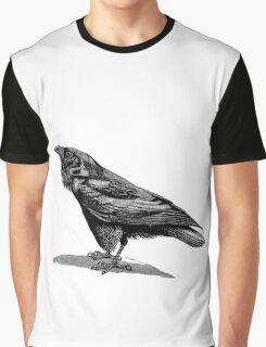 Vintage Raven Bird Illustration Retro 1800s Black and White Ravens Birds Image Graphic T-Shirt
