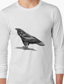 Vintage Raven Bird Illustration Retro 1800s Black and White Ravens Birds Image T-Shirt
