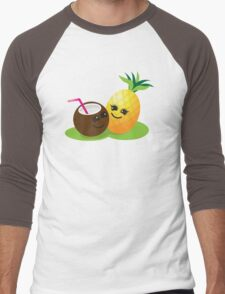 TROPICAL fruits Coconut and PINEAPPLE super cute KAWAII Men's Baseball ¾ T-Shirt