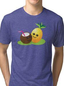 TROPICAL fruits Coconut and PINEAPPLE super cute KAWAII Tri-blend T-Shirt