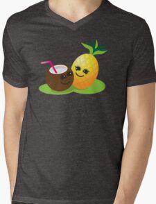 TROPICAL fruits Coconut and PINEAPPLE super cute KAWAII Mens V-Neck T-Shirt