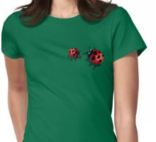 Two Heart Ladybugs Womens Fitted T-Shirt