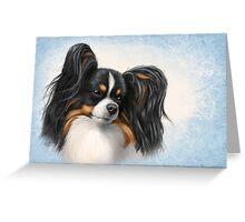 """Tri Color Papillon Portrait """"Sky"""" Greeting Card"""