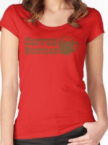 Coffee Rustler with cute mug coffee bean Women's Fitted Scoop T-Shirt