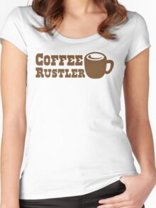 Coffee Rustler with cute mug coffee bean Women's Fitted Scoop T-Shirt