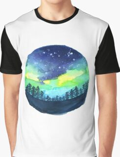 Watercolor Aurora Borealis Graphic T-Shirt