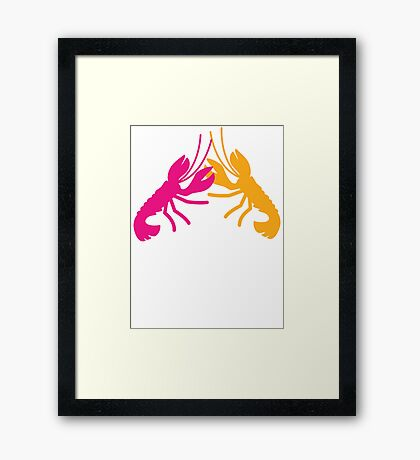 Lobster Crayfish food fight!  Framed Print