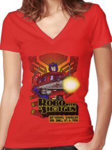 Robo With A Shotgun Women's Fitted V-Neck T-Shirt