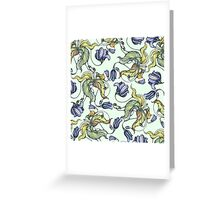 vintage floral pattern watercolor drawing Greeting Card