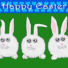 Happy Easter Three Sweet Bunnies by Mary Taylor