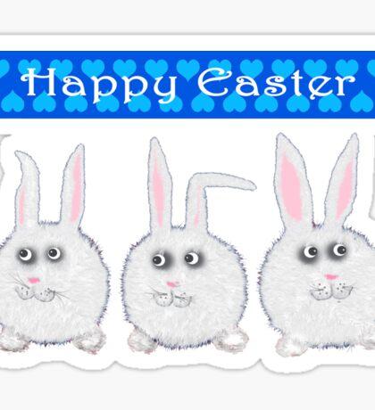Happy Easter Three Sweet Bunnies Sticker