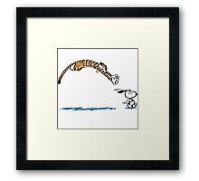 Hobbes And Snoopy Framed Print