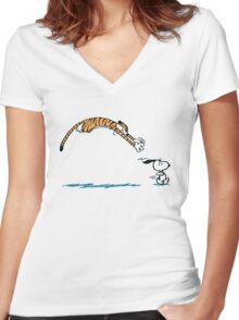 Hobbes And Snoopy Women's Fitted V-Neck T-Shirt