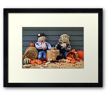 Scarecrows on brake don't guard harvest and crow eat corn Framed Print