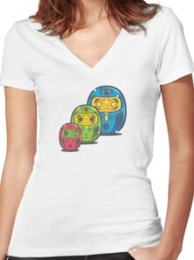 ZOMBIE MATRYOSHKA DARUMAS Women's Fitted V-Neck T-Shirt