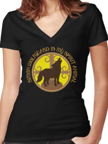 SIMON WOLFGUARD is my spirit animal Women's Fitted V-Neck T-Shirt