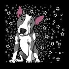 Starry English Bull Terrier Grey and White by Sookiesooker