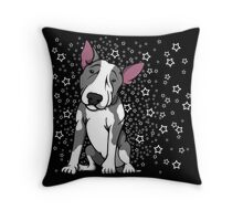 Starry English Bull Terrier Grey and White Throw Pillow