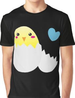 Cute Easter chick with love heart Graphic T-Shirt