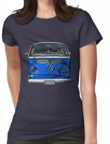 Volkswagen Blue combi cutout  Womens Fitted T-Shirt