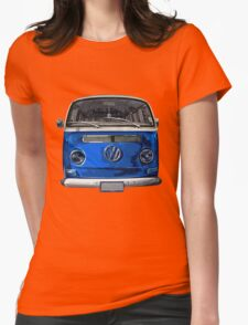 Volkswagen Blue combi cutout  Womens Fitted T-Shirt