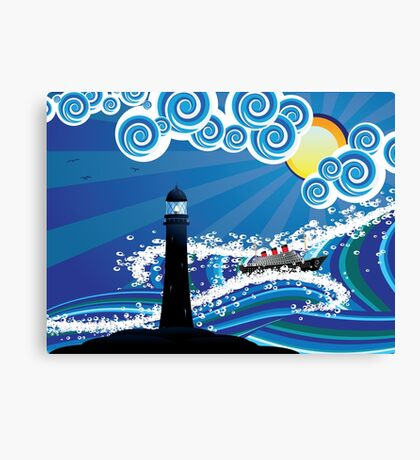 Lighthouse and Boat in the Sea 2 Canvas Print