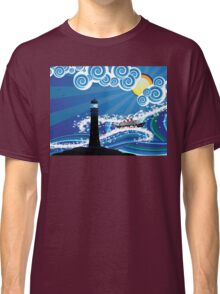 Lighthouse and Boat in the Sea 2 Classic T-Shirt