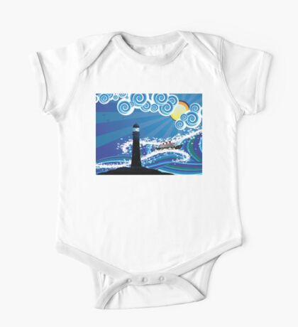 Lighthouse and Boat in the Sea 2 One Piece - Short Sleeve