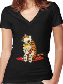 Calvin and Hobbes Hugs  Women's Fitted V-Neck T-Shirt