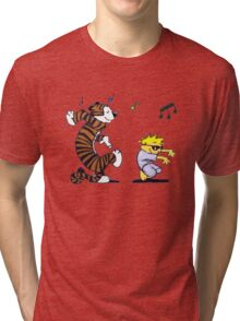 Calvin and Hobbes Dancing Tri-blend T-Shirt