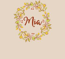 Mia lovely name and floral bouquet wreath Womens Fitted T-Shirt