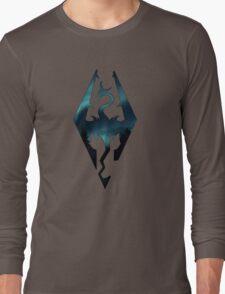 Skyrim Logo - Northern Lights Long Sleeve T-Shirt