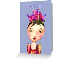 Girl In Bird Hat, Pencil drawing, Race Day. Greeting Card