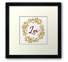 Zoe lovely name and floral bouquet wreath Framed Print