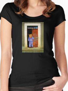 Cat In Pyjamas in Doorway. Humor. Women's Fitted Scoop T-Shirt