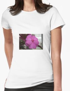 pink flower close up Womens Fitted T-Shirt