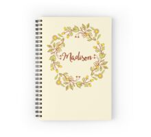Madison lovely name and floral bouquet wreath Spiral Notebook