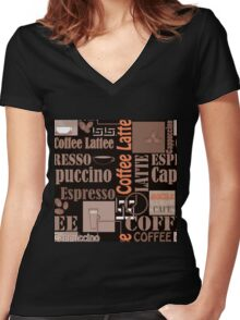 Texture of Coffee.Seamless Women's Fitted V-Neck T-Shirt