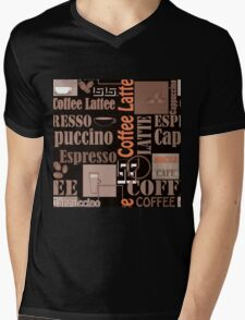 Texture of Coffee.Seamless Mens V-Neck T-Shirt
