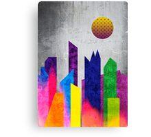 Summer Night City Colorful Trendy Flat Geometric Landscape Canvas Print