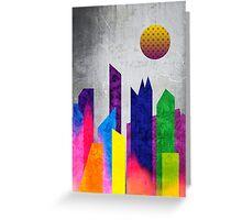 Summer Night City Colorful Trendy Flat Geometric Landscape Greeting Card