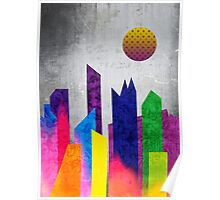 Summer Night City Colorful Trendy Flat Geometric Landscape Poster