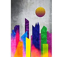 Summer Night City Colorful Trendy Flat Geometric Landscape Photographic Print
